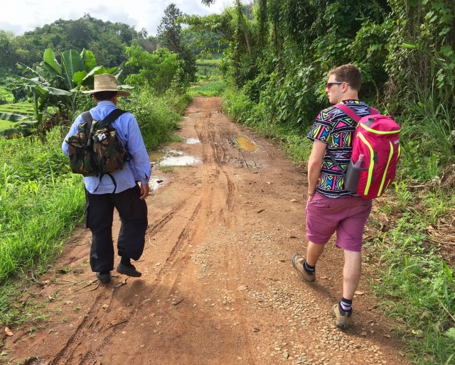 Harry and Mr Gu at the start of their trekking friendship