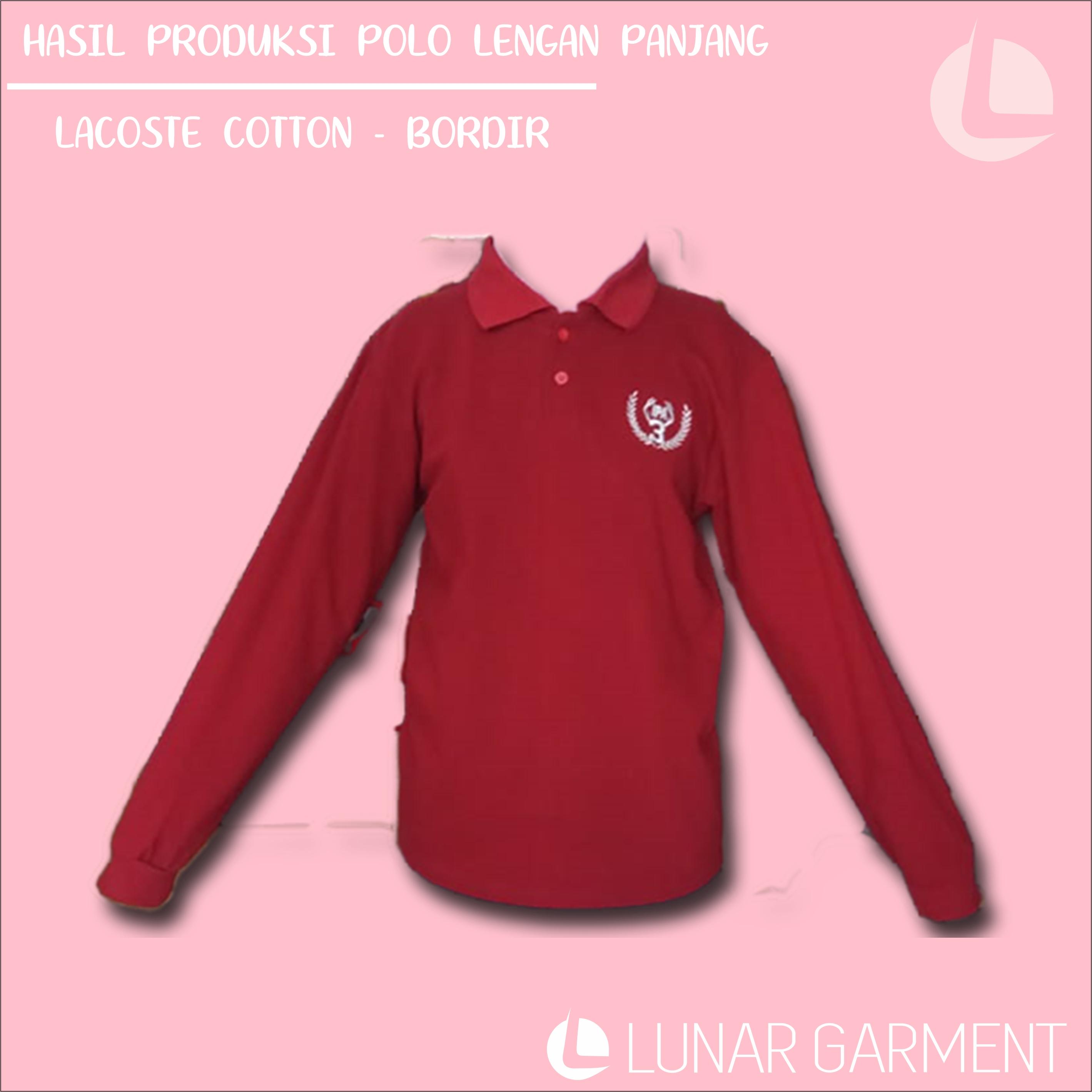 Hasil Produksi Polo Lengan Panjang – Lacoste Cotton & Bordir