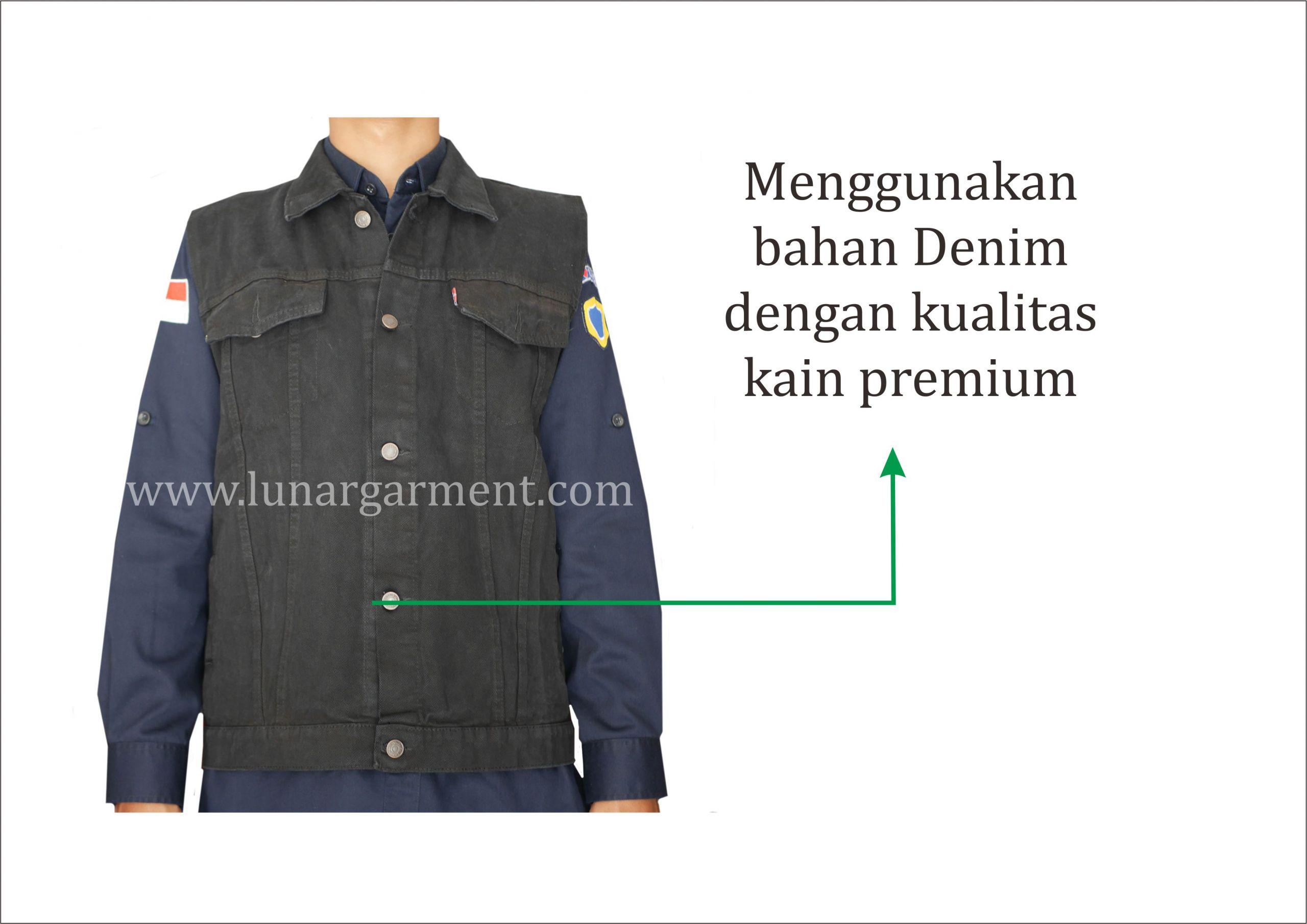 Hasil Konveksi Rompi Jeans Custom
