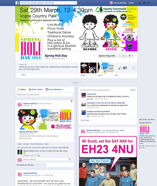 Fcebook page created by Lunaria Ltd.