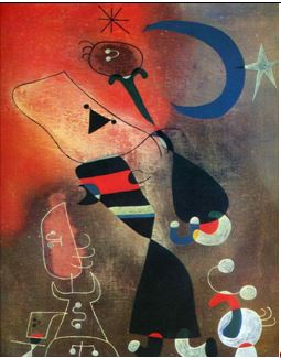 Joan Mirò, Woman and bird in the moonlight, 1949