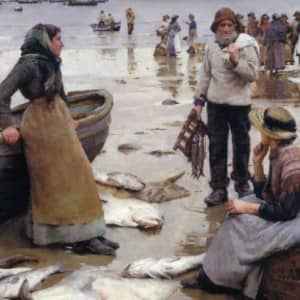 Classic... Forbes' A Fish Sale on a Cornish Beach, 1885