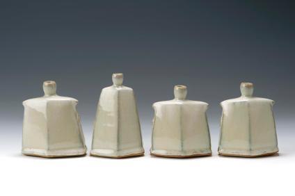Facetted Vases. Tallest 12 cm