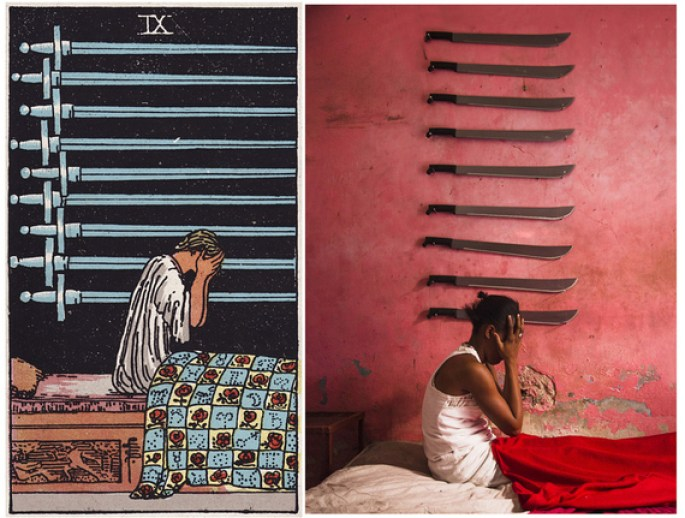 The Nine of Swords shows a woman with her head in her hands, sitting up in her bed. She appears to have just woken up from a bad nightmare, and is obviously upset, fearful and anxious following her dream. Nine swords hang on the wall behind her.