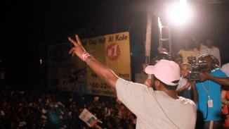 Pras Michel performs at Haitian rally