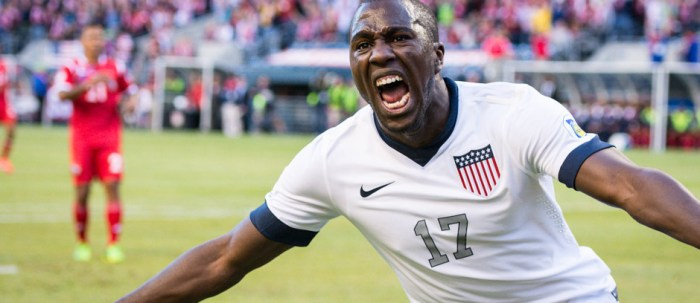 Jozy Altidore celebrates after scoring a goal for the US against Panama in a World Cup Qualifying match at CenturyLink Field in Seattle, Wash. on Tuesday, June 11, 2013. (Photo by Mike Russell   mikerussellfoto.com)