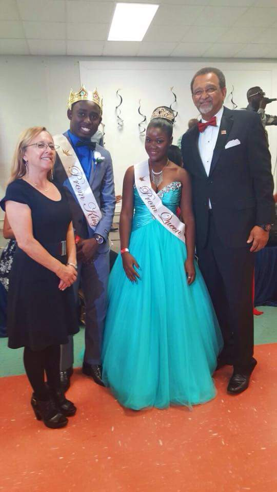 First ever prom king and queen of Toussaint L'Ouverture High School in 15 years with the founders of the school Maj Joseph. M. Bernadel and Diane Allerydce, Ph.D.