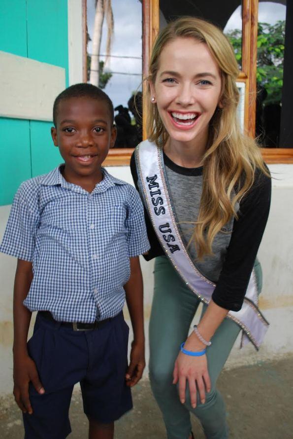 Miss USA Olivia Jordan visits Smile Train's cleft patients at its local partner hospital in Cap-Haitien, Haiti.