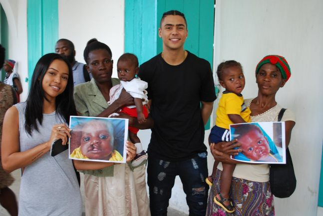 Karrueche Tran and Quincy Brown visit Smile Train patients and their families at Justinian University Hospital in Cap-Haitien, Haiti.