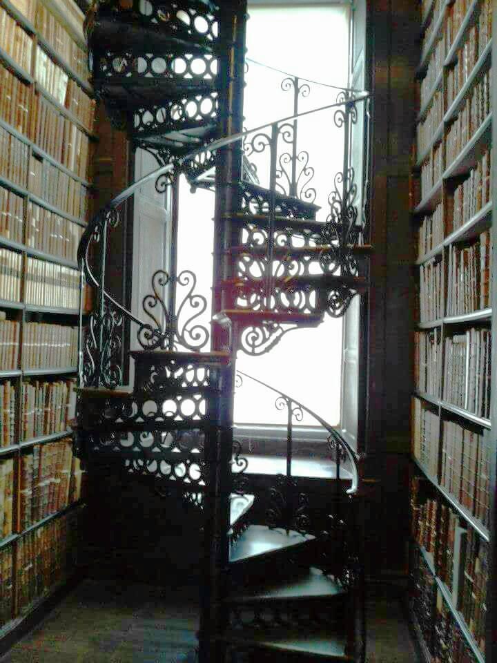 """Scala a chiocciola che conduce al piano superiore della Long Room. «Fondare biblioteche è un po' come costruire ancora granai pubblici: ammassare riserve contro l'inverno dello spirito che da molti indizi, mio malgrado, vedo venire.» Queste parole di Marguerite Yourcenar ci danno la giusta definizione di una biblioteca come un magazzino culturale atto ad affrontare gli eventuali tempi bui assai ricorrenti nella storia dell'uomo . In quest'ottica Dublino ha beneficiato del suo """"granaio"""" culturale, contribuendo alla creazione di numerosi tesori letterari distinguendosi come una città tra le più vivaci del panorama Europeo. Fra i suoi figli prediletti spiccano certamente Jonathan Swift, Oscar wilde, Bram Stoker e Samuel Beckett. Tutti e quattro compirono il loro apprendistato intellettuale proprio tra le mura del Trinity College."""