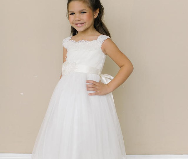 04807356dc7 Ivory Full Length Adorable Lace Flower Girl Dress Scalloped Hem Lunss  Couture
