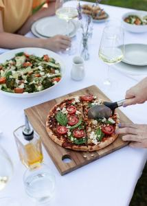 Pizza and salad spread