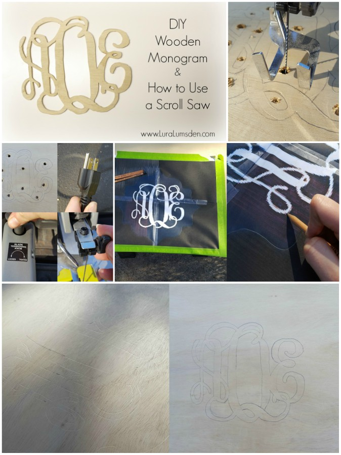 Making a monogram using wood and a saw