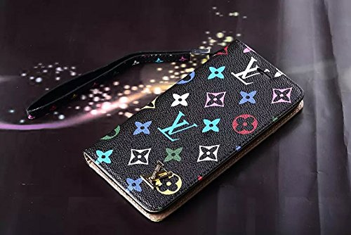 LouisVuitton ルイ・ヴィトン iPhone6 iPhone7&7plus おしゃれ 携帯カバー ケース 革製 手帳型 スマホカバー カラフル柄 スマホケース iPhoneケース FASHION 耐衝撃 超軽量 高品質 鞄ケース ブラック iPhone7plus 対応