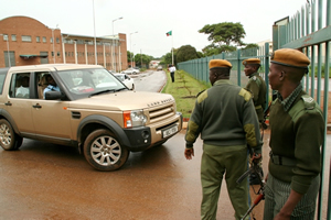 Aaron Chungu and Faustine Kabwe in their lawyers vehicle from leaving the magistrate Court in Lusaka in 2009