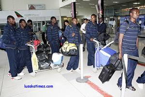 Some Zambia National Team players at Lusaka international airport