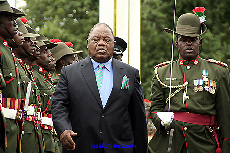 PRESIDENT Banda inspects a parade mounted by Zambia Army soldiers.