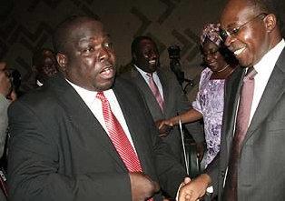 PF Roan Member of Parliament Chishimba Kambwili (L)