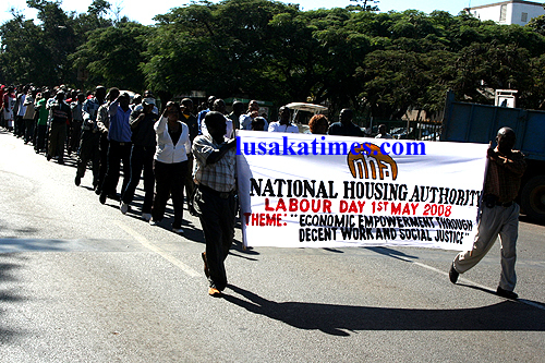 National Housing Authority employees rehearsing for May Day along Independence avenue in Lusaka.