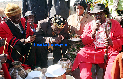 FILE: Senior chief Nsokolo innaugurates traditional beer chipumu at the Mutomolo traditional ceremony for the Mambwe people in Mbala