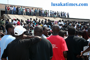 File:Copperbelt University students listening to speeches by union leaders