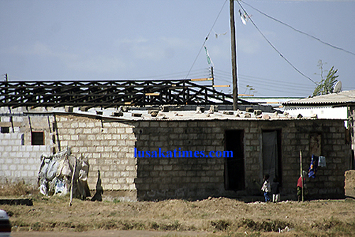 An incomplete structure, typical of Kanyama township in Lusaka
