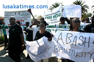 Journalists during a protest against harrassment by political party cadres in Lusaka