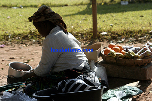 Making ends meet...A woman selling food stuffs as a source of income in Lusaka