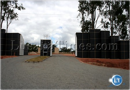 The entrance to the new Heroes Park burial site at Leoprads Hill cemetry in Lusaka.jpg