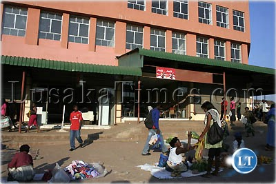 Street vendors conducting their business in Kitwe