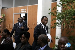 COMESA Secretary General Sindiso Ngwenya (r) and Defence Minister Kalombo Mwansa arrive for the COMESA Ministers' meeting in Lusaka