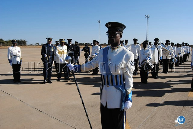 PRESIDENT Banda inspects the ZAF band