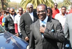 Opposition UNIP leader Tilyenji Kaunda arrives at Supreme Court to file in his nomination papers in Lusaka