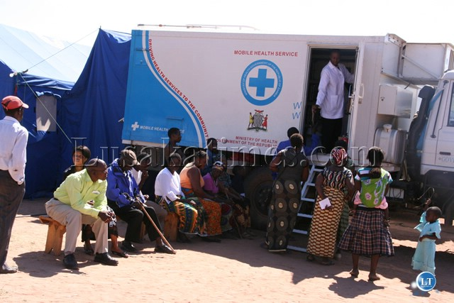 Medical staff attending to patients at a Mobile Hospital