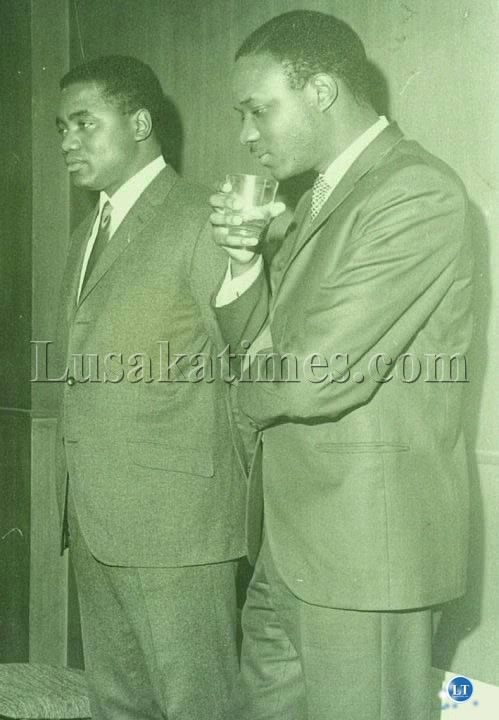 The Future of Zambia-Two finely dressed young politicians of the newly independent Zambia Rupiah Bwezani Banda (L) and Venon Johnson Mwaanga (R)