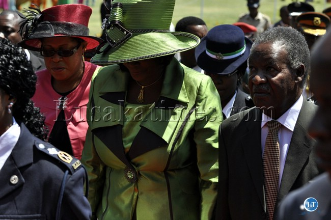 President Sata and First Lady Dr Christine Kaseba about to enter the national assembly chamber