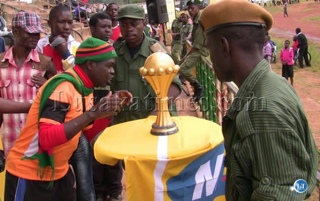 An Ardent Chipolopolo supporter Steven Sichali takes a rare experience with the AFCON at Kasama Sports Stadium