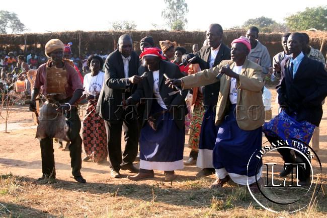 Mukumbi cultural dancers entertain guests during the Ntongo tradtional ceremony in Mufumbwe at the weekend.