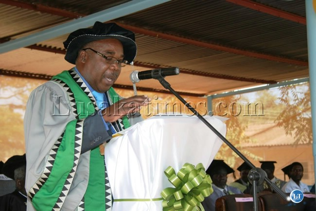 University of Zambia Vice Chancellor, Professor Stephen Simukanga, makes a speech at the first graduation ceremony of diploma teachers of Chipata College of Education in Chipata