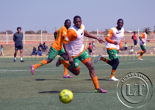 Zambia National Soccer team players in training at the Olympic Youth Development Centre in Lusaka.