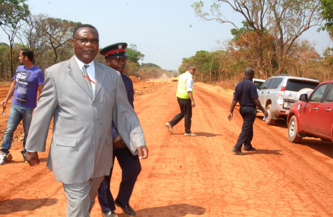 Luapula Province Minister Benson Kapaya inspecting the pedicle road project last week