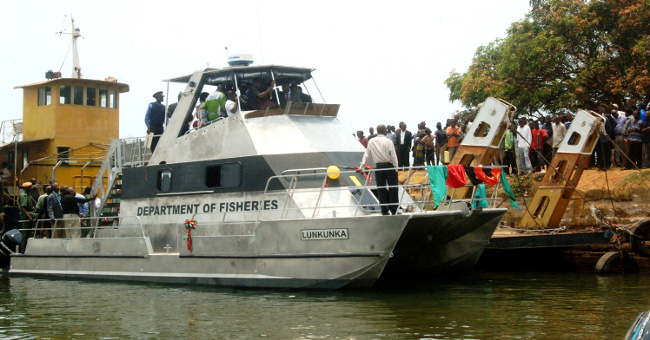 Government launched a K2.7 Billion water vessel on Lake Bangweulu in Samfya District of Luapula Province, the above boat is to be used for patrols during the fish ban period and fish restocking programme