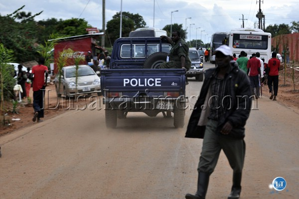 A police van on patrol outside the Nkoloma Stadium during the opening ceremony of the SADC Zone Six Under 20 Games