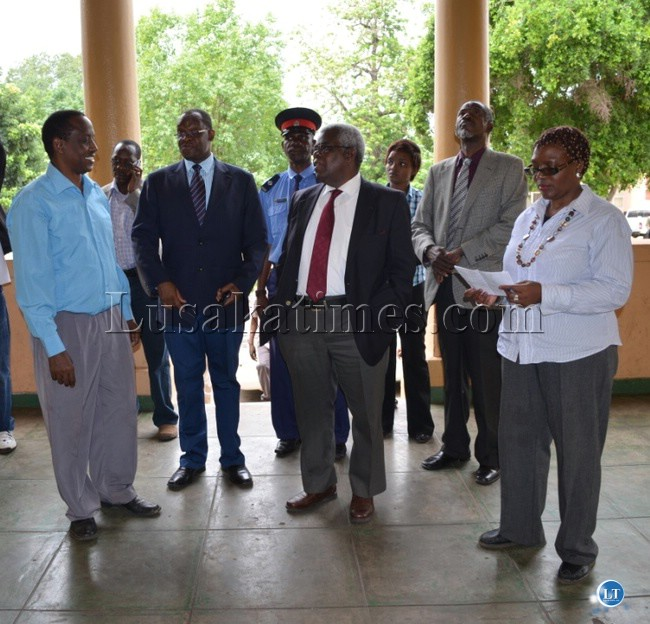 Tourism and Arts acting Permanent Secretary Monde Gwaba, Local Government and Housing Permanent Secretary Bernard Namachila, Deputy Secretary to Cabinet Peter Kasanda, Southern Province Permanent Secretary Chileshe Mulenga and Livingstone Museum director Vincent Katanekwa (far left) at Livingstone Museum recently