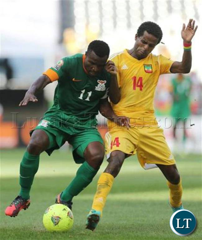 Chris Katongo fights for the ball in the match between Zambia and Ethiopia