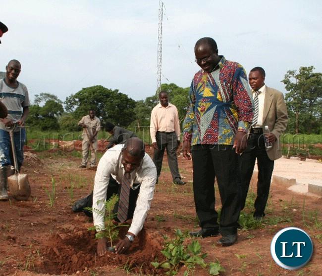 Deputy LANDS minister CHINGIMBU in Kasempa tre planting