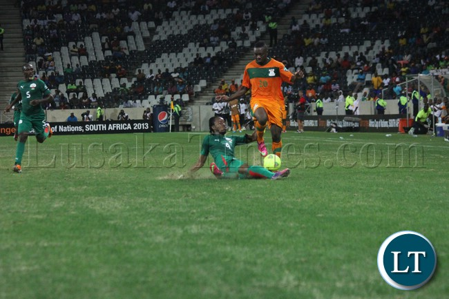 Zambia playing against Burkina Faso in their last match at  AFCON 2013
