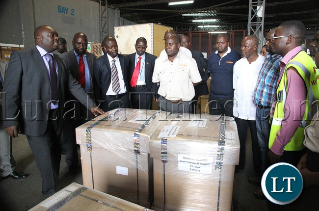 FILE: Then Ministry of Information permanent sectretary Amos malupenga inspecting the just aquired three dimensional photographic holograms at Kenneth kaunda international airpot in Lusaka