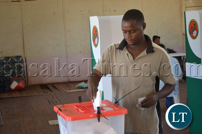A Livingstone resident casting his vote at Victoria Hall polling station
