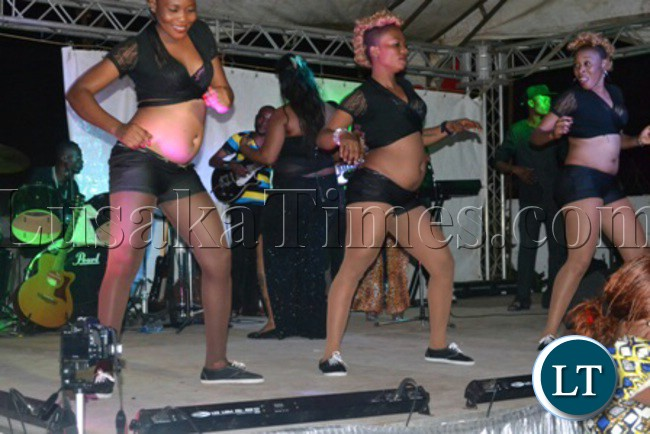 MJ30 dancing queens recently entertaining revellers at Bottom's Up in Kitwe